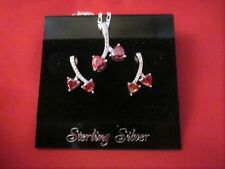 STERLING SILVER CHERRY GARNET HEARTS WITH CZ'S CHARM  AND MATCHING EARRINGS