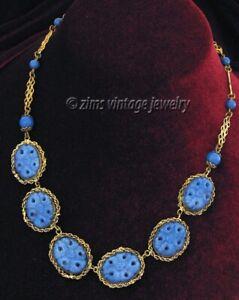 Vintage old ART DECO Czech molded Blue FLORAL Glass gold filigree link NECKLACE
