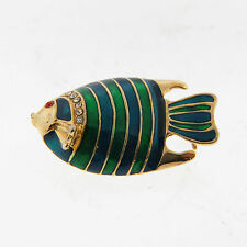 Rhinestone Enamel Fish Brooch Pin Gold Tone
