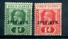 More details for british virgin islands 1921  pair overprinted specimen sg 80s/81s fine mlh