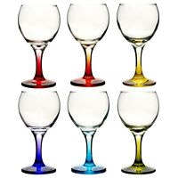 6pc Set 210ml Cocktail Coloured Stem Wine Glasses Red White Wedding Dinner Party