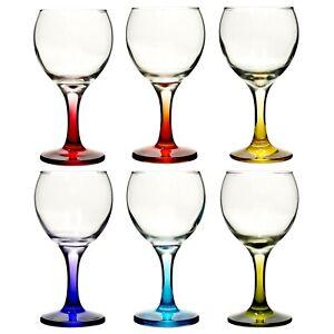 6pc Set 210ml Cocktail Coloured Stem Wine Glasses Red White Wedding Dinner Party
