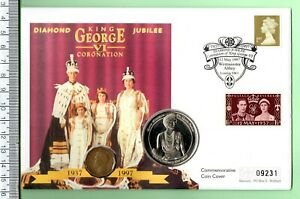 1997 GEORGE VI CORONATION DIAMOND JUBILEE TWO COIN AND STAMP F.D.C.