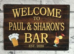 Personalised BAR SIGN Home Bar Pub Man Cave Shed Garage Workshop Metal Sign