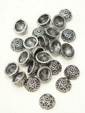 Beads Silver Ornate Round Bead Caps 14mm