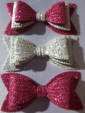 """SET OF 3 GIRLS PINK & SILVER SPARKLY GLITTER 3"""" DOUBLE HAIR BOWS ALLIGATOR CLIP"""