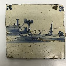 Antique Dutch Delft Tile 17th Century Waterside Collectible