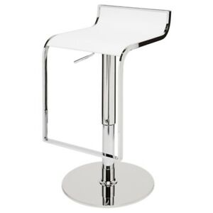 """33"""" Tall Adjustable Bar Stool Faux Leather Seat Chrome Finished Steel Base"""