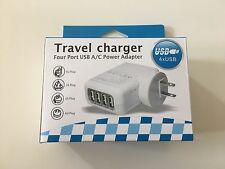 New 4 Ports USB Multi Adapter Travel Wall AC Charger with UK/EU/US/AU Plug White