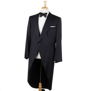 New $2995 D'AVENZA for MANCINI Black Wool Morning Jacket Coat 42 R Tuxedo