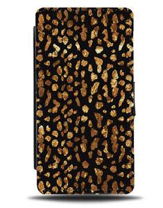 Black and Golden Leopard Print Spots Flip Wallet Case Dots Animal Gold E859