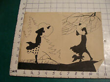 original DECO black & white INK drawling SILHOUETTE 1930's, girl well dressed