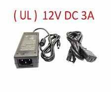 (UL) 12V DC 3A Power Supply Adapter For Q-see/Zmodo/Night Owl/Swann/Lorex DVR