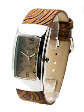 INFINITY:WOMENS' ANTIQUE BROWN LEATHER BAND CURVE CASE ANALOG QUARTZ WATCH
