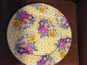 MACKENZIE CHILDS Yellow Pink Flowers Roses Drink Serving Platter Large Tray NEW