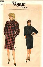 "Vogue Sewing Pattern Women's DRESS w/ COWL NECK COLLAR 8766 Sz 10 B32½"" UNCUT"