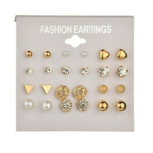 A Set of 12 Pairs Earrings Set Women's Gold Ear Studs Allergy Free Wholesale