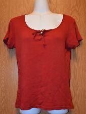 Womens Deep Red White Stag Cap Sleeve Shirt Size Medium very good
