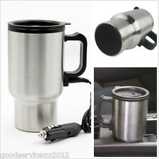 New 12V Silver Stainless Steel In-Car Interior Water Coffee Tea Heated Cup Mug
