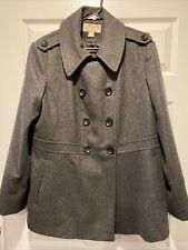 MICHAEL KORS Womens Dark Gray Short Double Breasted Wool Blend Pea Coat Size XL