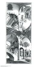 High and Low M. C. Escher Fantasy Weird Odd B&W Art Print Poster 17.75x31.25