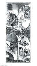 High and Low M. C. Escher Fantasy Weird Odd B&W Art Print Poster 17.75x31.25