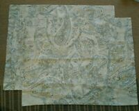 Pottery Barn - 2 NEW std paisley pillow shams - pale muted green multicolored