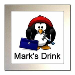 Personalised BUILDER / CARPENTER / HANDYMAN PENGUIN Novelty Glass Drinks Coaster