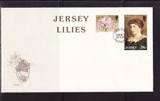 Jersey  enveloppe  lis  fleur et portrait de Lillie  Longtry   1986