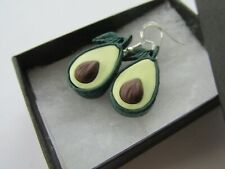 Unusual Handmade Fun Fimo Green Avocado Pip Fruit Charm - Earrings - Gift