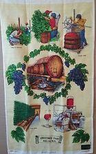 Vintage Tea Towel Pure LINEN Wine Industry Mildura Historical UNUSED