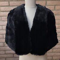 Vandevers Fur Salon Black Evening Shawl Capelet Shoulder Wrap Tulsa Oklahoma VTG