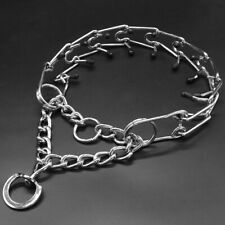 Metal Steel Dog Pinch Prong Choke Chain Collar Training Guardian Gear Rubber Tip