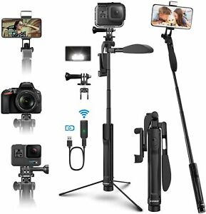 ELEGIANT Extendable Tripod Selfie Stick, Phone,Go-pro Remote,Fill Light EGS07New
