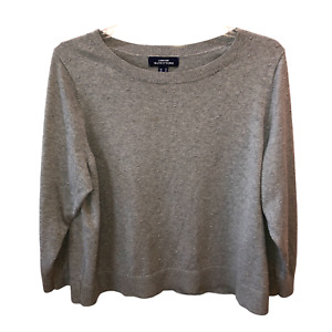Lands End Outfitters Womens Plus Size 2X Gray Raised Dot Pullover Sweater Top
