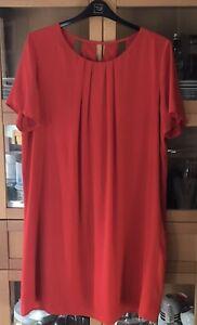 Ladies Size 20 TU Vintage Style Red Crepe Slip Dress With Lantern Back VGC