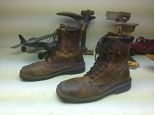JUSTIN SQUARE TOE DISTRESSED BROWN LEATHER STEEL TOE WESTERN BOOT 12ee