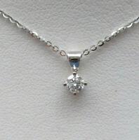 Brand New 1/4CT Diamond Solitaire 9ct White Gold Pendant & Chain £140 Freepost