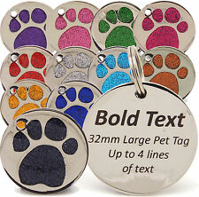 Personalised Engraved Pet Tags, 25mm & 32mm Glitter Paw Print, Dog Tags, Cat Pet