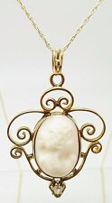 14k Yellow Gold Genuine Natural Cameo Pendant with Diamond (#3416)