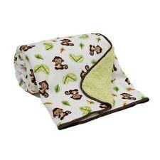 Blanket Baby Infant Soft Snuggly Bedding Nursery Monkeys Jungle Cozy Warm Fleece