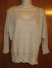 ALTERNATIVE Jrs. Small KNIT SHIRT (Gray/White Stripe w/ dolman sleeves) EUC