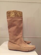 PINKO Stivali BEIGE Ankle Boots Original Size 39 Leather Scamosciato Paillettes