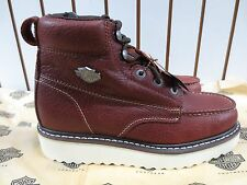 Mens Brown Harley Davidson Wedge Moc Toe Work Boot Size 10 Med w/side zipper