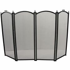 Fire Screen Black Folding 4 Panel Guard Sparkguard Cover New By Home Discount