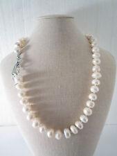 collana perle coltivate semigrezze  stondate irregolari chiusura in argento 925