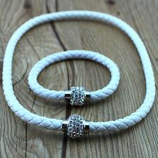Leather Wrap Wristband Cuff Punk Magnetic Rhinestone Buckle Bangle necklace 1set