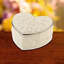 Lenox Wedding Heart Shaped Favor Boxes Set of 10 Roses Platinum Shower Gift New