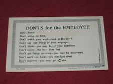 Antique Don'ts For the Employee Postcard  #1026 NOS EXC