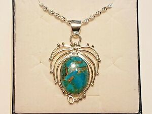 """Fancy Mojave Turquoise pendant 15 cts in Platinum over 925 Sterling w/20"""" chain"""